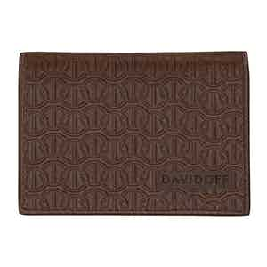Brown Embossed-Leather Zino Double-Card Wallet