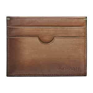 Cognac Hand-Painted Leather Venice Card Holder