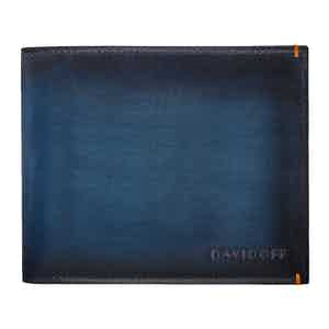 Blue Hand-Painted Leather Venice Bifold Six-Card Wallet