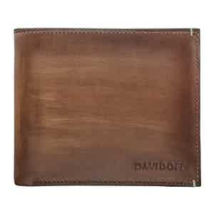 Cognac Hand-Painted Leather Venice Bifold Eight-Card Wallet