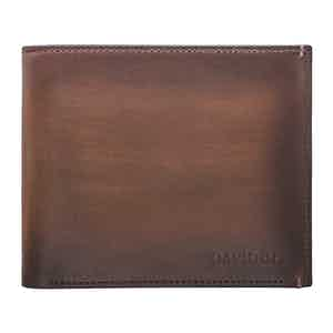 Brown Hand-Painted Leather Venice Bifold Eight-Card Wallet