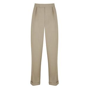 Stone 10oz Gabardine Wide-Leg Trousers