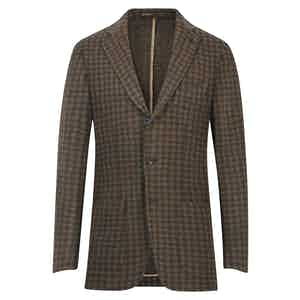 Brown Wool Checkered Single-Breasted Blazer