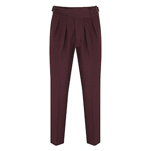 Burgundy Linen Manny Trousers
