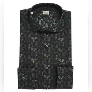 Black Cotton Shirt with Owl Micro-Print