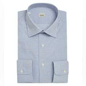 Blue Check Cotton Shirt with Semi-Spread Collar