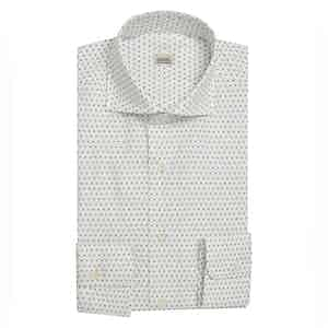 Diamond-Print White Shirt with Semi-Spread Collar