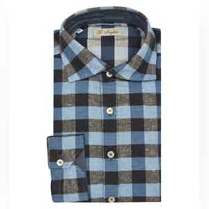 Navy Cotton Check Polo Shirt