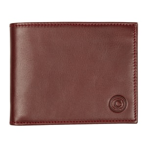 Brown Leather Billfold with Red Stitching