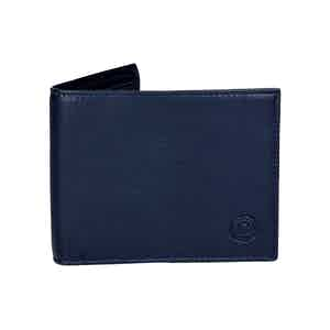 Classic Blue Leather Billfold Wallet with Tonal Stitching