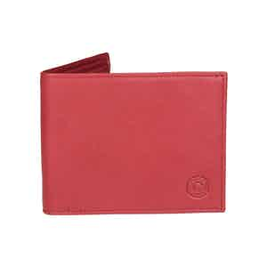 Classic Red Leather Billfold Wallet with Tonal Stitching