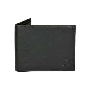 Classic Black Leather Billfold Wallet with Tonal Stitching