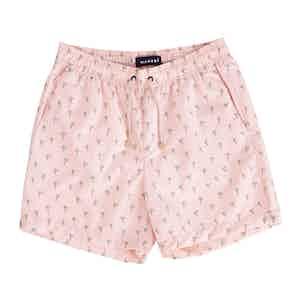 Pink Dakota Swim Shorts with Palm Print