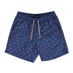 Blue Dakota Swim Shorts with Palm Print