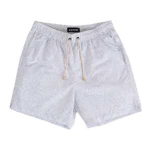 White Dakota Swim Shorts with Blue Triangle Print