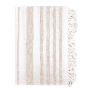 Beige Striped Cotton Beach Towel