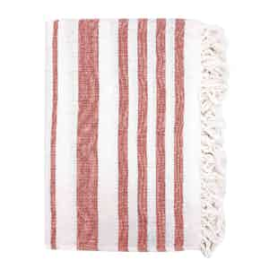 Red Striped Cotton Beach Towel