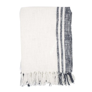 Navy Striped Raw Cotton Beach Towel