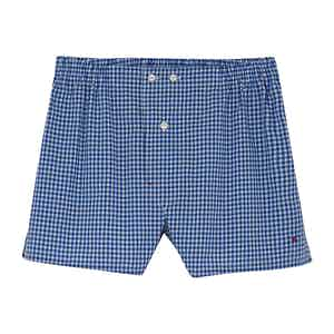 Blue Check Cotton Boxers