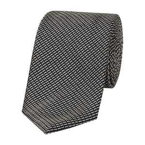 Navy and White Textured Silk Tie