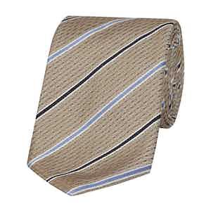 Beige and Blue-Striped Silk Tie