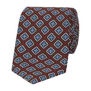 Burgundy Micro-Floral Print Silk Tie