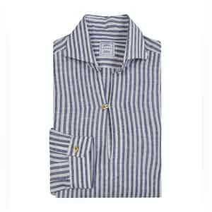 Blue-Striped Linen Shirt with Breton Collar