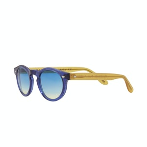 Blue Acetate Sunglasses with Blue-Yellow Frames