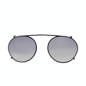 Matte Black Clip-On Sunglasses with Grey Gradient Lenses
