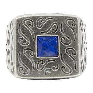 Sterling Silver Squared Ring with Lapis Lazuli