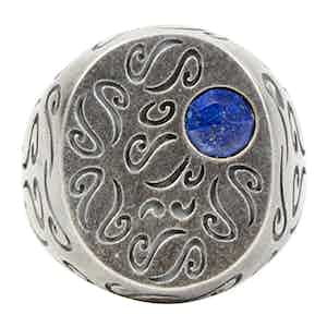 Sterling Silver Rounded Ring with Lapis Lazuli