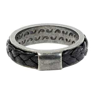 Sterling Silver Ring with Black Leather Braiding