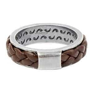 Sterling Silver Ring with Brown Leather Braiding