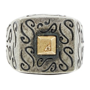 Ara Squared Oxidised Silver Ring with Diamond