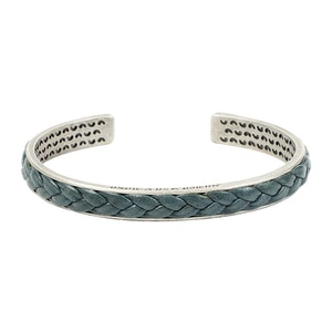 Thick Sterling-Silver Bangle with Green Leather Braiding
