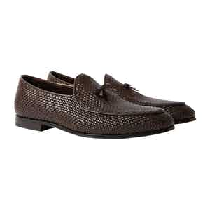 Brown Woven Leather Henri Loafers