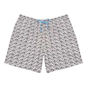 Black, Grey and White Floral Polyester Swim Shorts