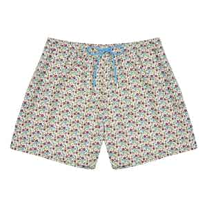Green and White Floral Polyester Swim-Shorts