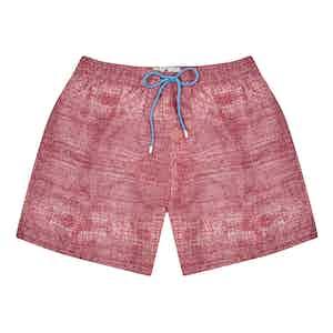 Red Polyester Denim Texture-Print Swim Shorts