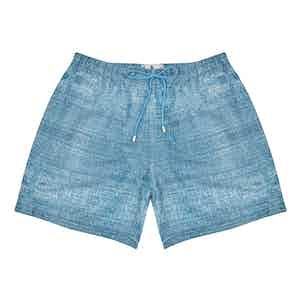 Blue Polyester Denim Texture-Print Swim Shorts