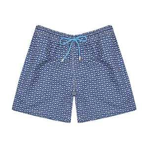 Navy Crab-Print Polyester Swim Shorts