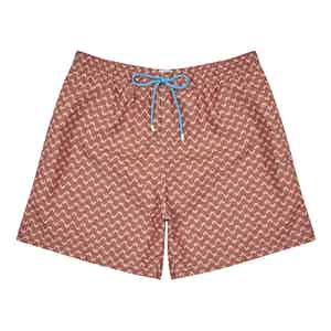 Brown Crab-Print Polyester Swim Shorts