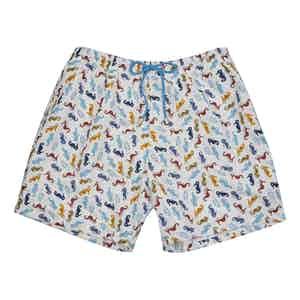 Blue, Brown and Yellow Seahorse-Print Polyester Swim Shorts