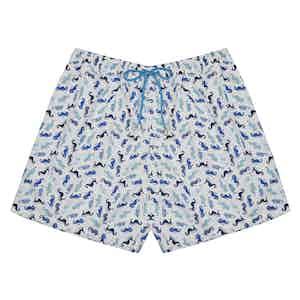 Blue Seahorse-Print White Polyester Swim Shorts