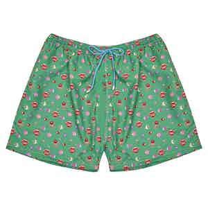 Red, Green and Pink Sealife-Print Polyester Swim Shorts