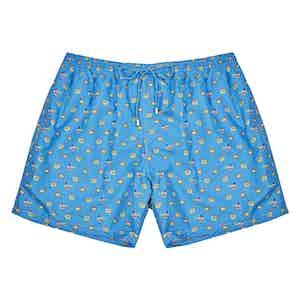 Blue Peacock-Print Polyester Swim Shorts