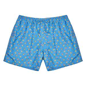 Blue Peacock-Print Polyester Swim Shorts