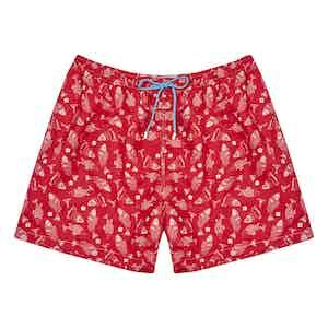 Red Fish Print Polyester Swim Shorts