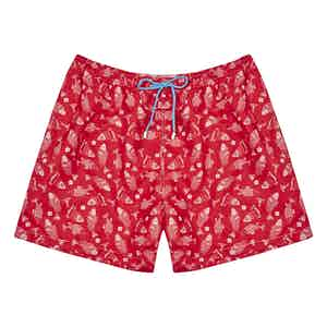 Red Fish Print Polyester Swim Shorts