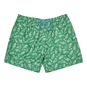 Green Fish-Print Polyester Swim Shorts
